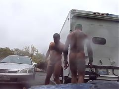 Guys Very Public Rainy Stroking in parking lot^8:09