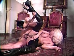 Hot blonde tranny takes a stiff cock and cumshot^16:46
